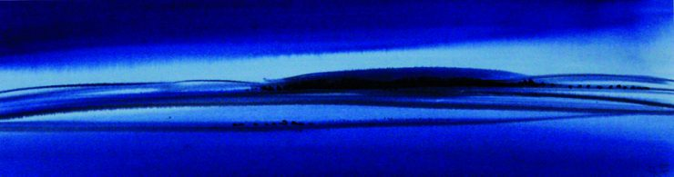 "Torsten Schlüter, ""Nordblau"", 2005, Aquarell, 12,5x45cm"