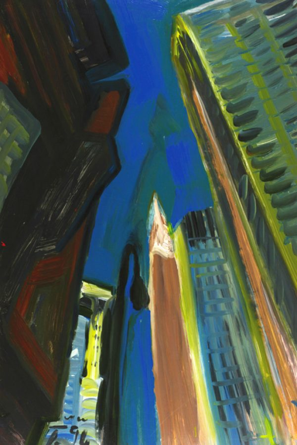 """Torsten Schlüter, """"Down Town"""", 1994, Acryl, 110x80cm"""