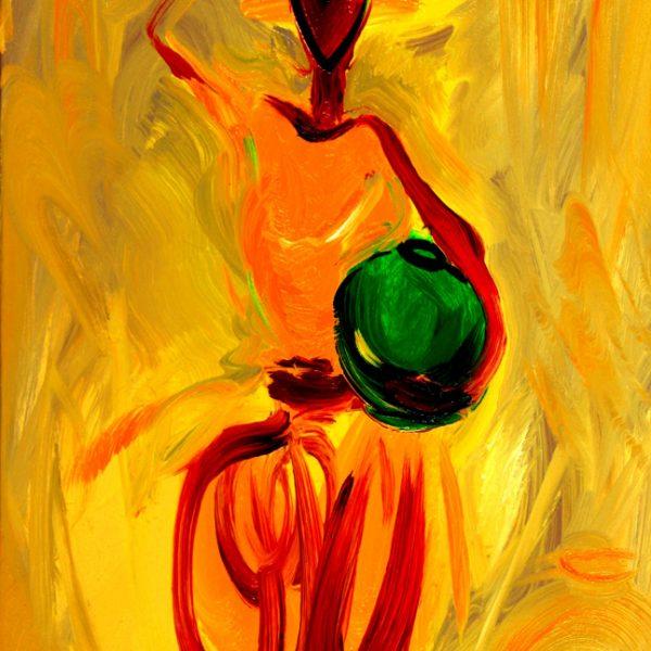 """Torsten Schlüter, """"Frau mit zwei Krügen"""", 2002, Öl auf Leinwand, 70x50cm"""