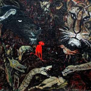 "Torsten Schlüter, ""Mumbai - Heilige Herde"", 2014, Öl auf Leinwand, 180x180cm"