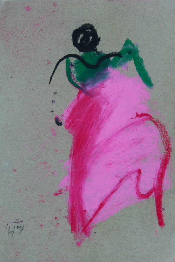 "Torsten Schlüter, ""Pink Lady"", 2007, Kreide, 25x17cm"