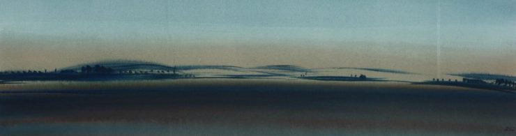"Torsten Schlüter, ""Boddenlandschaft"", 2007, Aquarell, 16x60cm"