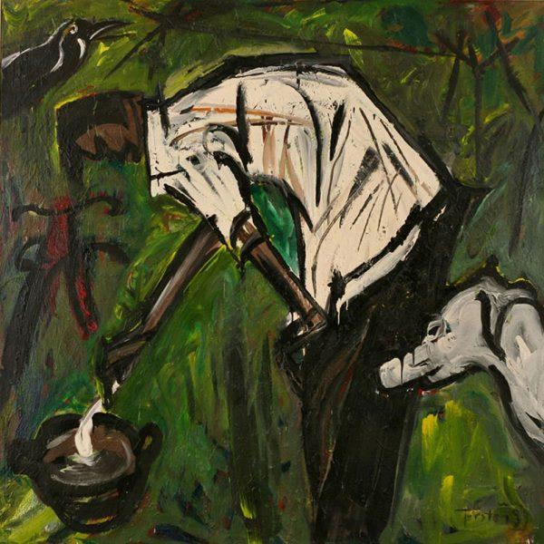 """Torsten Schlüter, """"Slumdog, Craw and Man"""", 1997, Öl auf Leinwand, 180x180cm"""