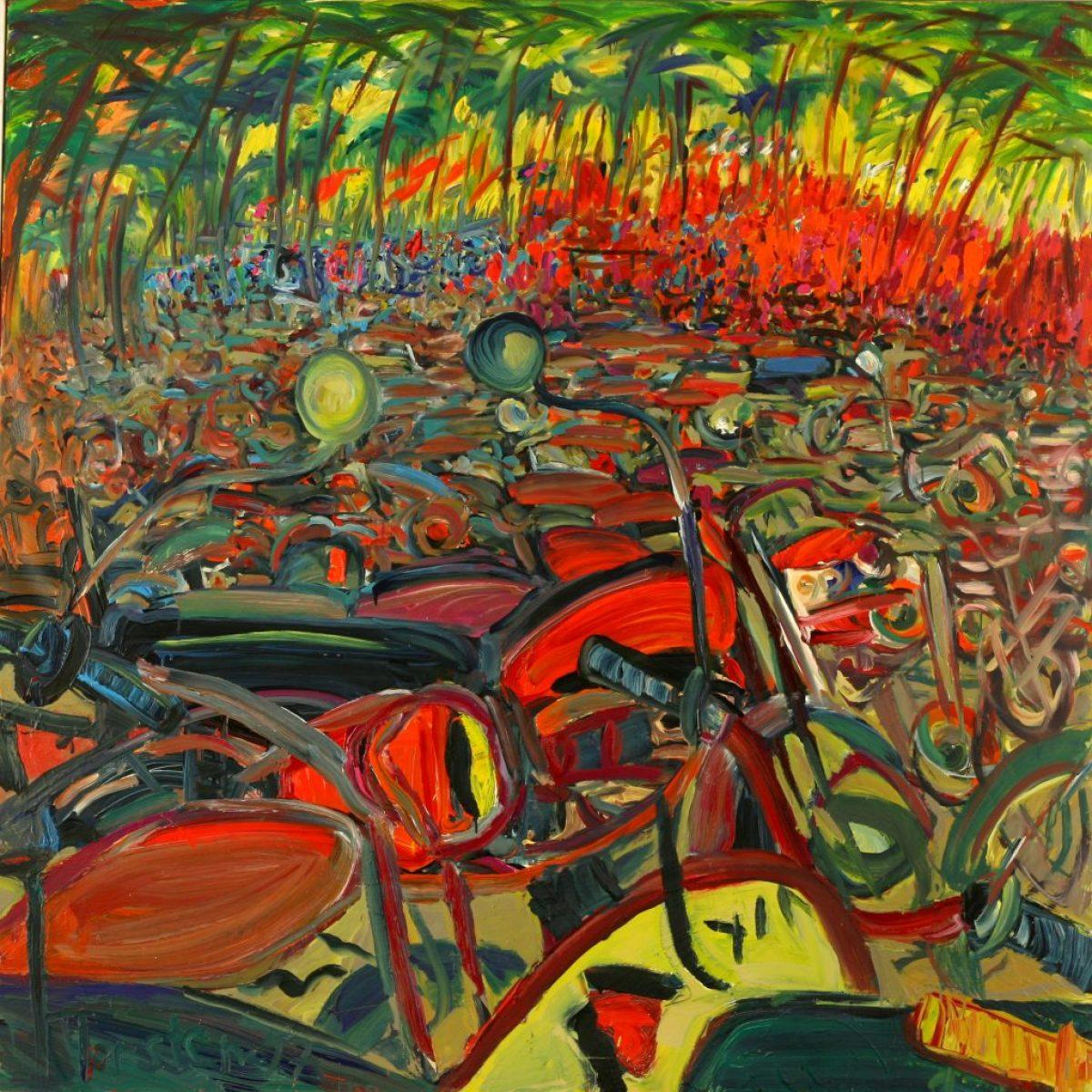 "Torsten Schlüter, ""Moksha and Enfields"", 1997, Öl auf Leinwand, 180x180cm"