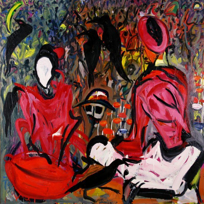 """Torsten Schlüter, """"Der Tod und der Händler"""", 1998, Öl auf Leinwand, 160x160cm"""