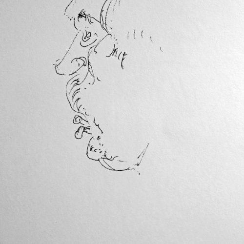 """Torsten Schlüter, """"Dornbuschwilly"""", 1989, Bleistift, 15x10cm"""