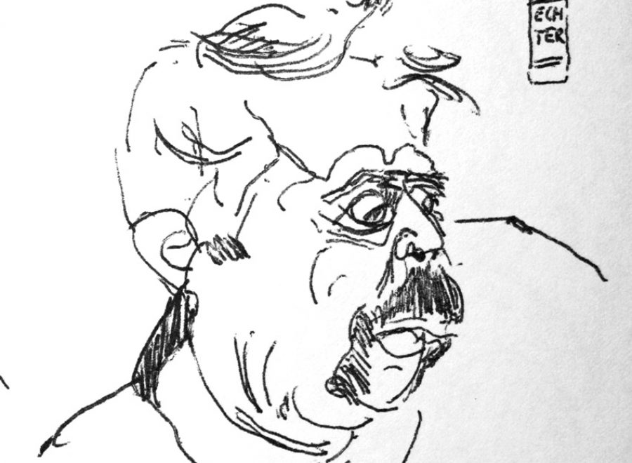 """Torsten Schlüter, """"Auf dem Dampfer"""", 1993, Kugelschreiber, 15x13cm"""