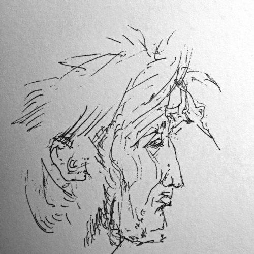 """Torsten Schlüter, """"Schlunti"""", 1988, Kugelschreiber, 15x10c"""