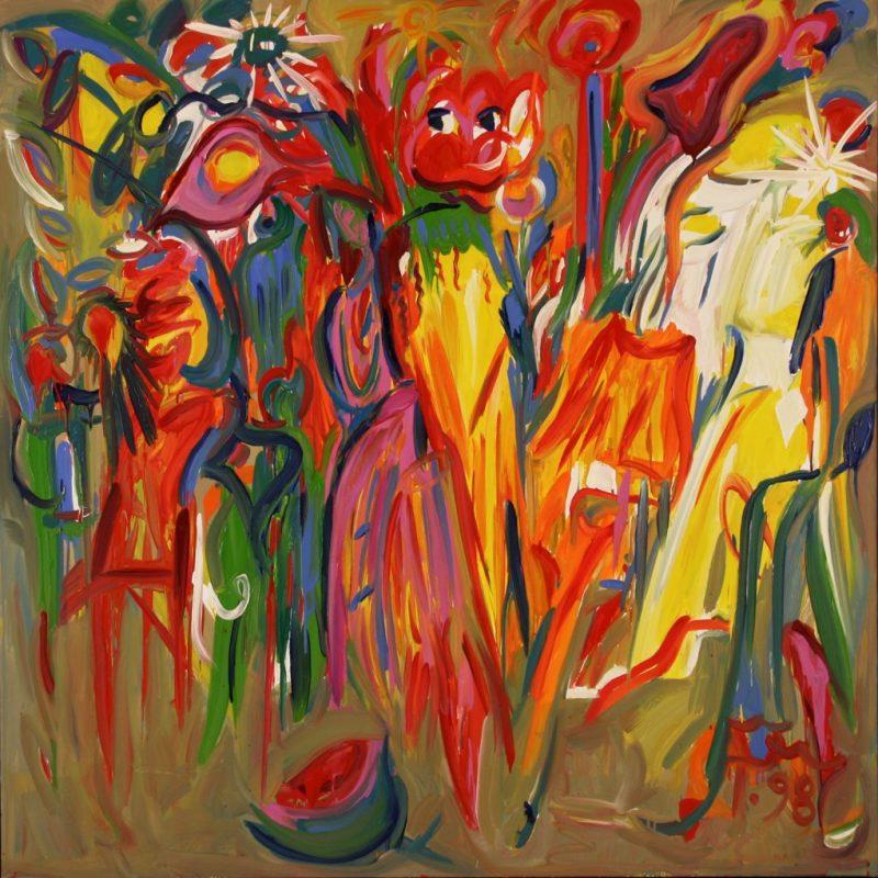 """Torsten Schlüter, """"Uma, Psylo, Mescalitho"""", 1998, Öl auf Leinwand, 160x160cm"""