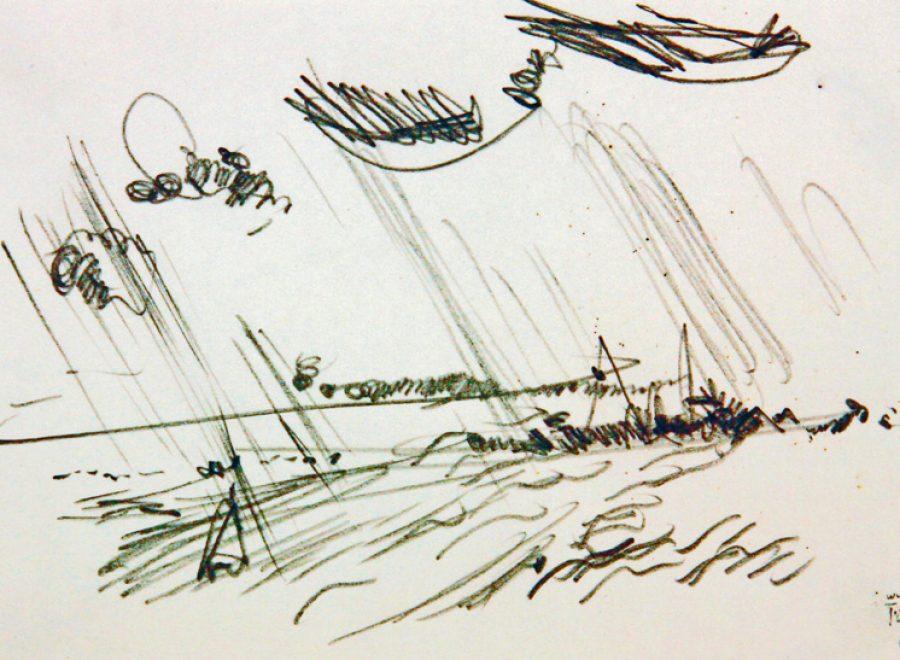 """Torsten Schlüter, """"Von Oben"""", 2006, Bleistiftzeichnung, 10x15cm"""