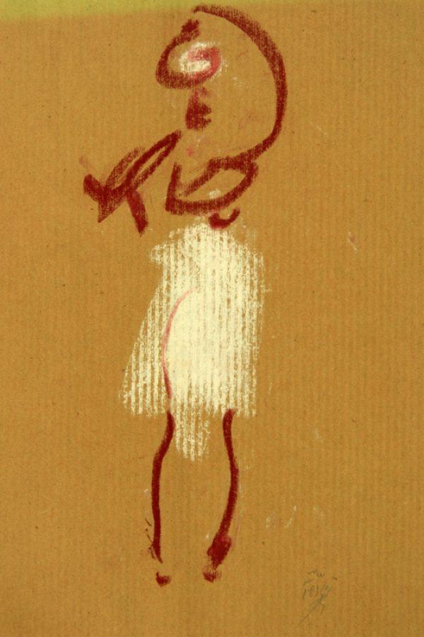 """Torsten Schlüter, """"Brunnenfrau IV"""", 2007, Kreide, 25x17,5 cm"""