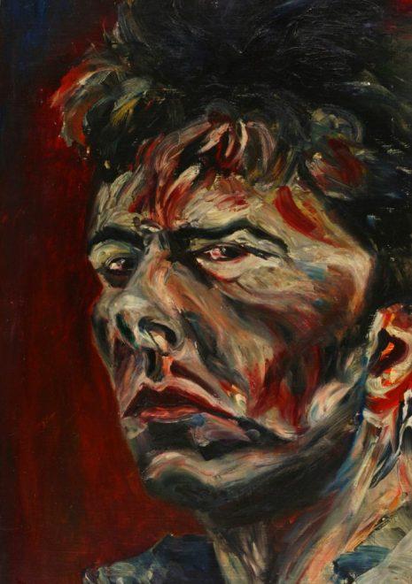 """""""Torsten Schlüter, """"Junger Wilder, Selbstbildnis"""",1986, Öl auf Holz, 68x48cm"""