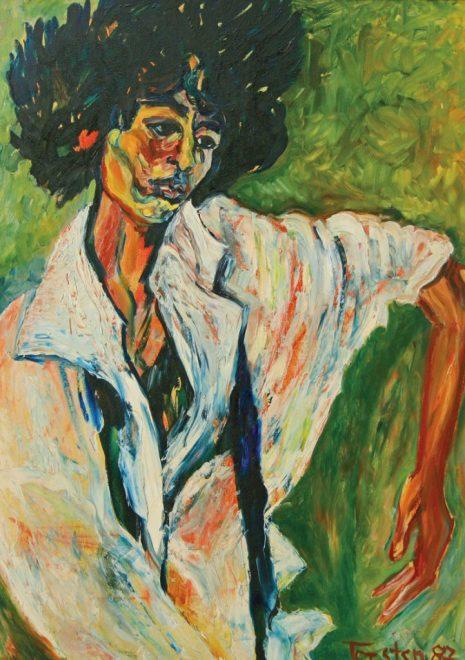"Torsten Schlüter, ""Dame in Weiss, 1987, 82x62cm"