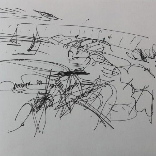 """Torsten Schlüter, """"Flinke Jollen"""", 2016, Fineliner, 20x26cm"""