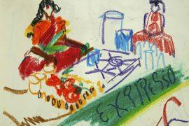"""Torsten Schlüter, """"Coffeeshop"""", 1998, Kreide, 15x21cm"""
