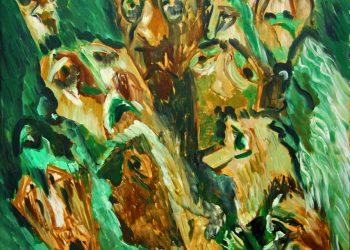 """Torsten Schlüter, """"Pogrom an Armeniern"""", 1987, Öl auf Hartfaser, 60x60cm"""