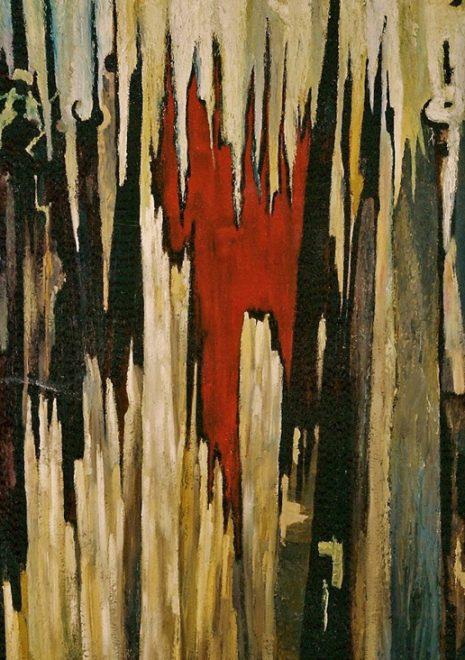 """Torsten Schlüter, """"Der Oktobersturm"""", 1990, Öl auf Holz, 165x130cm"""