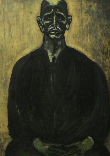 """Torsten Schlüter, """"Selbst als Hoelderlin"""", Öl, 1986, 100x70cm"""