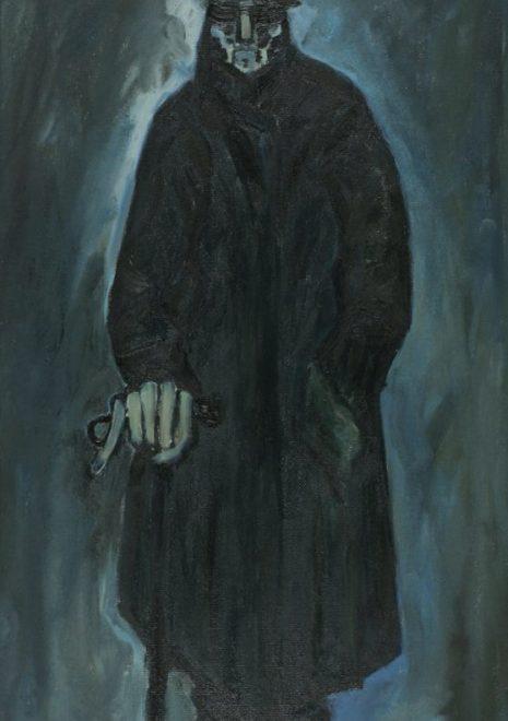 """Torsten Schlüter, """"Vergessener Täter, Mielkes letzter Gang,1992, Öl auf Hartfaser"""", 150x65cm"""