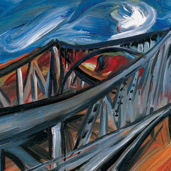 "Torsten Schlüter, ""Agentenbrücke"", 1994, Acryl, 75x102cm"