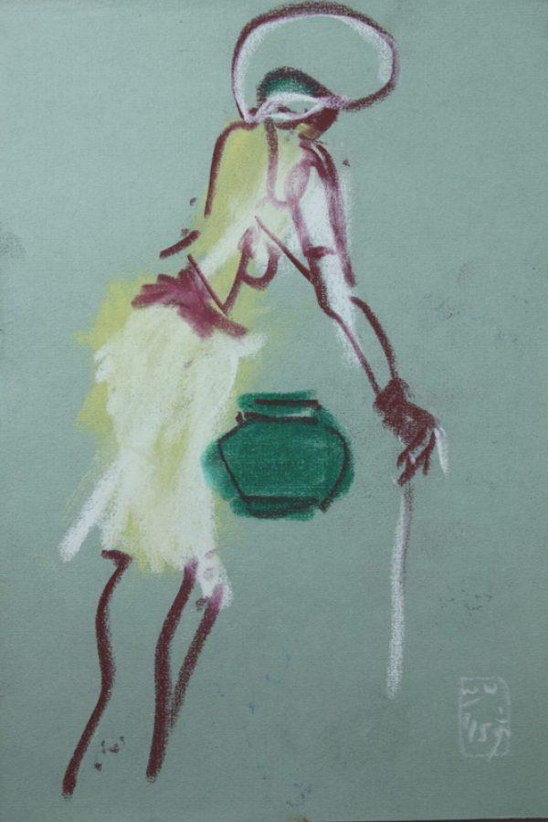 """Torsten Schlüter, """"Brunnenfrau"""", 2015, Pastell, 25,5x17,5cm"""