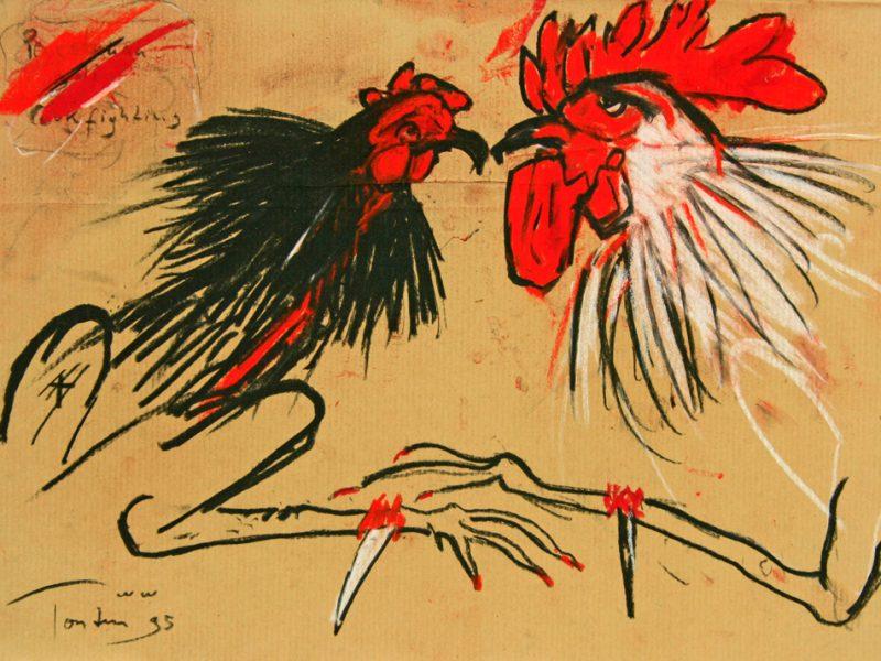 "Torsten Schlüter, ""Cockfight"",1995, Kreide, 26x36cm"
