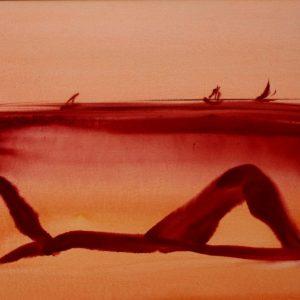 """Torsten Schlüter, """"Die Liegende"""", 2014, Aquarell, 50x65cm"""