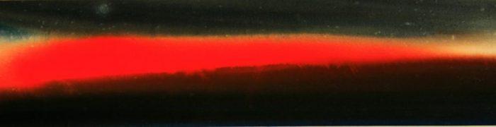 """Torsten Schlüter, """"Einspielzeit im Niemandsland, Roter Keil"""", 2008, Aquarell, 16x60cm"""