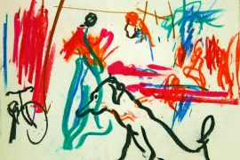 "Torsten Schlüter, ""Marktszene"", 1998, Pastell, 16x21cm"