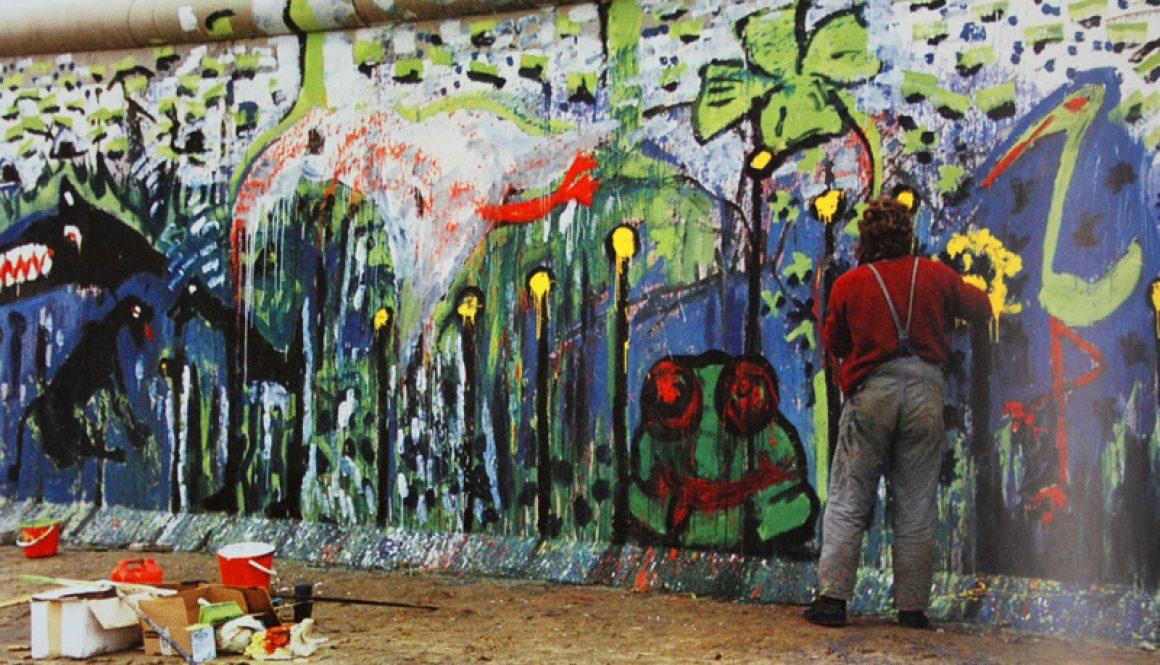 Torsten Schlüter, Mauermalerei, Potsdamer Platz von Osten, Berlin, 1989