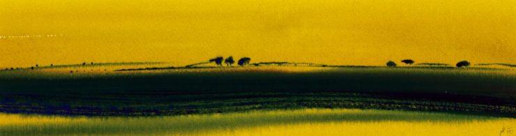 """Torsten Schlüter, """"Serengeti Nord"""", 2007, Aquarell, 12,5x45cm"""