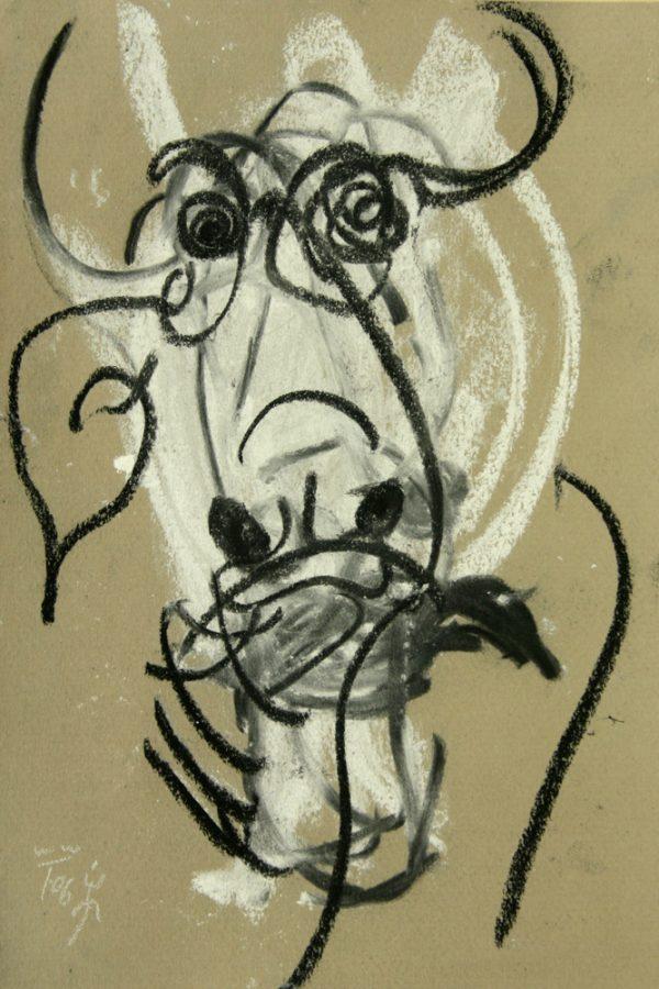 """Torsten Schlüter, """"Weisser Büffel"""", 2006, Pastell, 25x17cm"""
