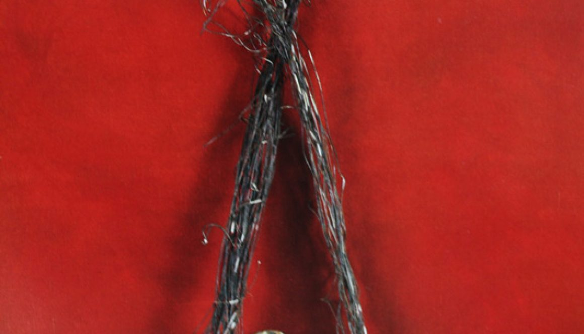 "Torsten Schlüter, ""Tulipamwe"", 1994, Leinwand, Stein, Metall, 280x160cm"
