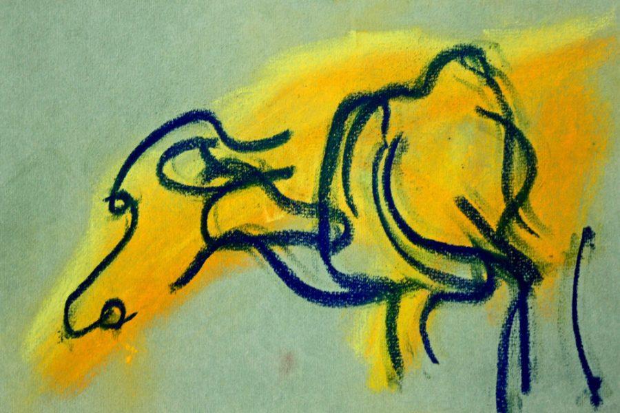 """Torsten Schlüter, """"Yellow Buffalo"""", 2013, Pastell, 17,5x25,5cm"""