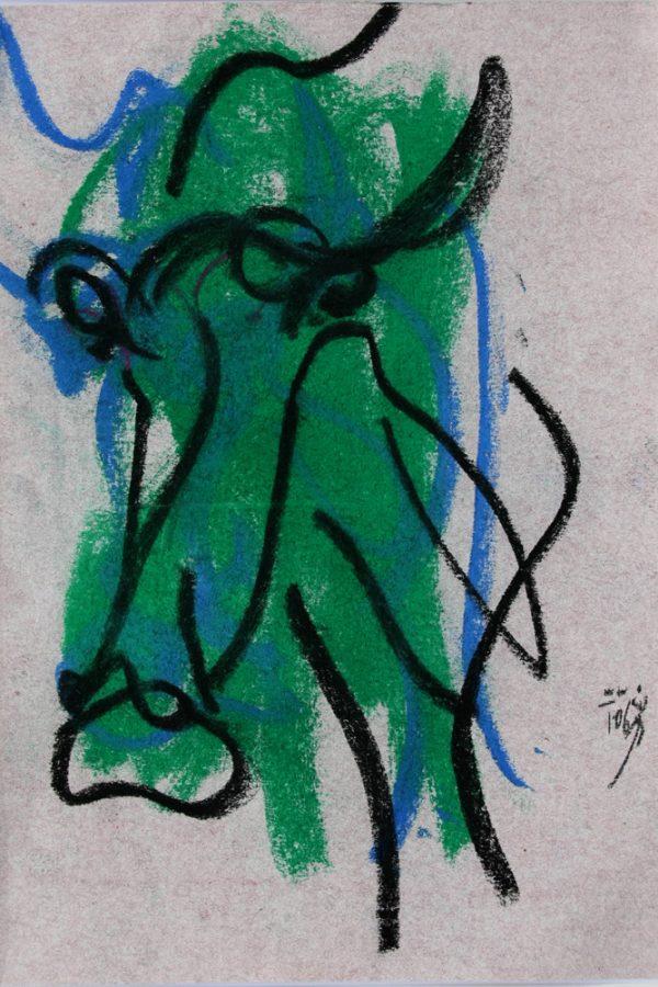 """Torsten Schlüter, """"Im Dschungel"""", 2006, Pastell, 25x17cm"""