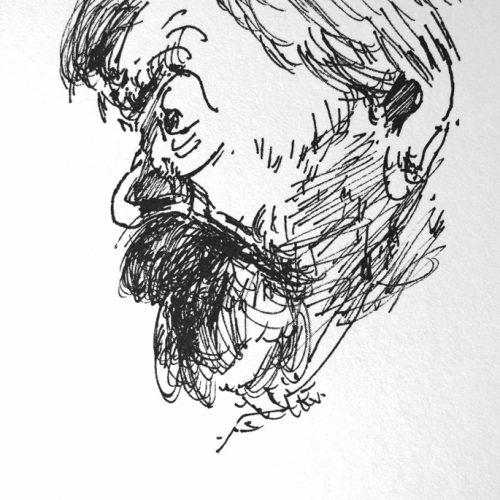 """Torsten Schlüter, """"Der Enddornwirt Andreas Kaufmann, """" ,1987, Bleistiftzeichnung 25,5x17,5 cm"""