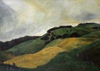 """Torsten Schlüter, """"Dornbusch"""", 1986, Öl auf Hartfaser, 70x100cm"""