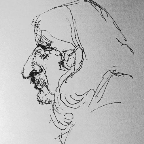 "Torsten Schlüter, ""Gurke"",1988, Kugelschreiber, 15x10cm"