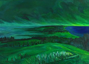 "Torsten Schlüter, ""Inselblick"", 1987, Öl auf Leinwand, 68x100 cm"