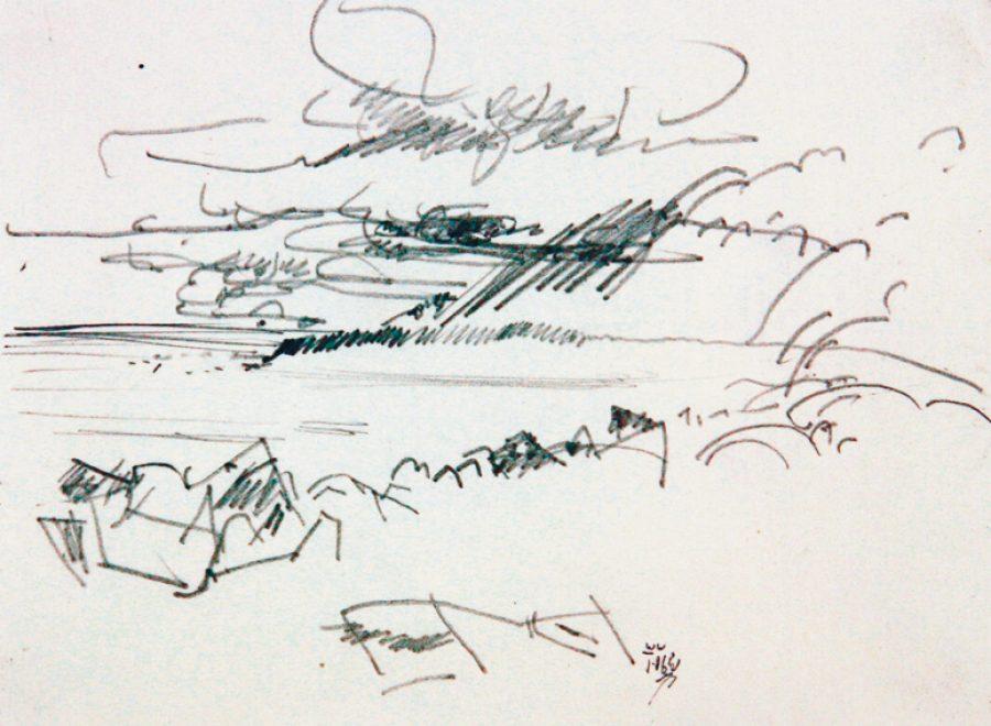 """Torsten Schlüter, """"Land mit Kanten"""", 2006, Bleistift, 10x15cm"""