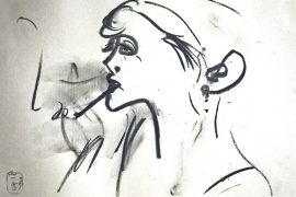"""Torsten Schlüter, """"Danach"""", 2016, Kohlezeichnung, 26x36cm"""