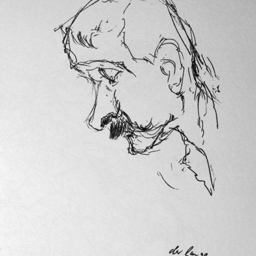 """Torsten Schlüter, """"Der Lange Joe, Klausner"""", 1989, Kugelschreiber, 15x10cm"""