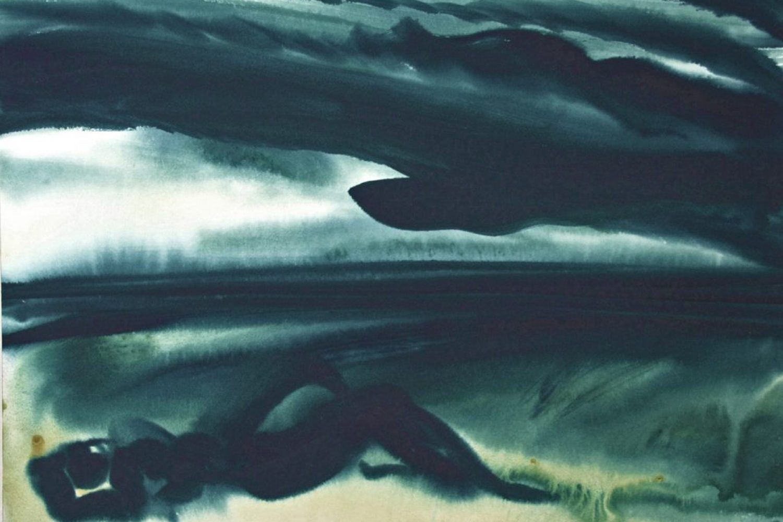"Torsten Schlüter, ""Unterm Dach"", 2016, Aquarell, 50x65cm"
