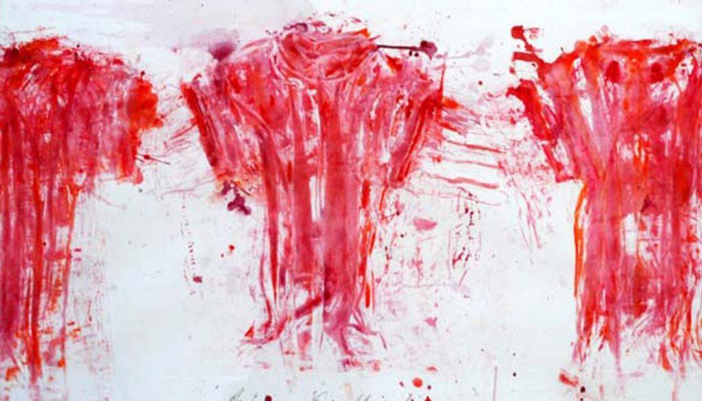 """Torsten Schlüter, """"Die Angriffsreihe"""", 2001, Acryl auf Karton, 100x140cm"""