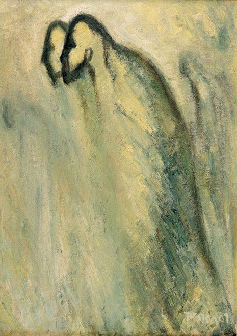 """Torsten Schlüter, """"Die Einheitspartei"""", 1989, Öl auf Leinwand, 82x60cm"""