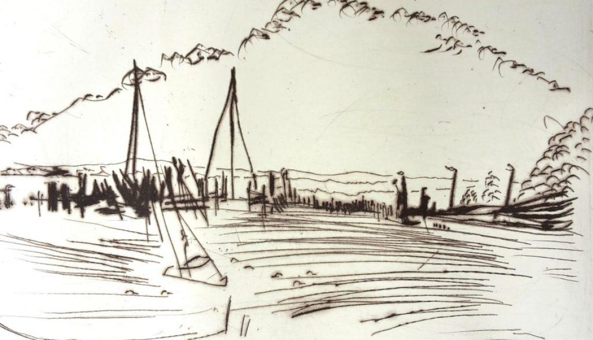 """Torsten Schlüter, """"Am Hafen in Kloster"""", 2012, Kaltnadelradierung,10x15cm"""