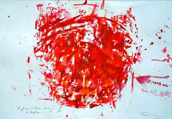"""Torsten Schlüter, """"Der zwölfte Mann, der Fanblock das schlagende Herz des Vereins"""", 2001, Acryl auf Karton, 76x105cm"""