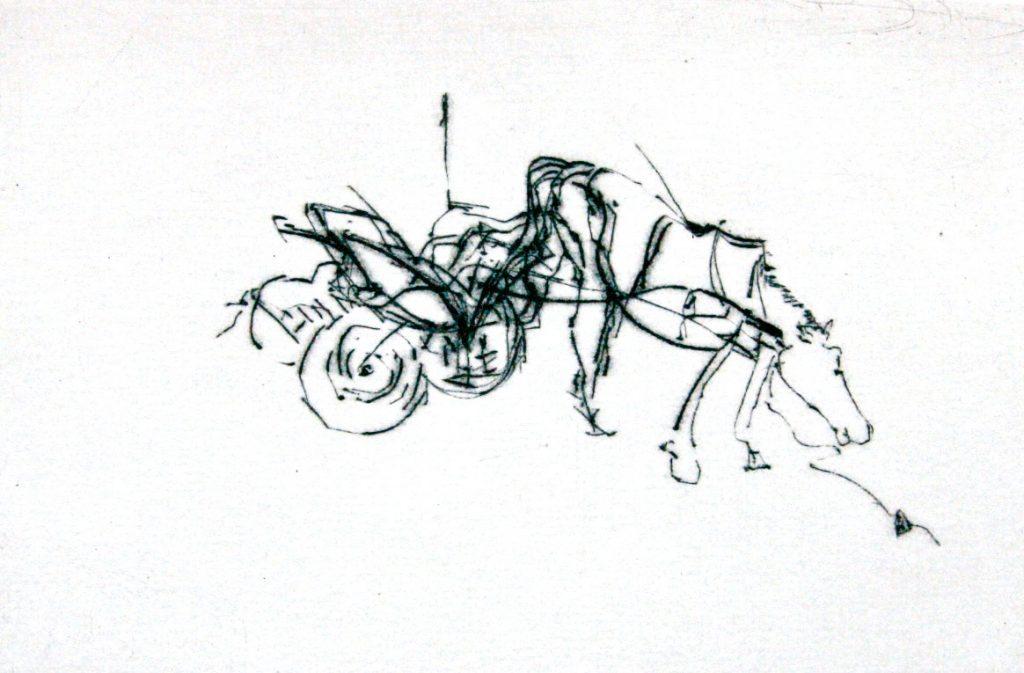 """Torsten Schlüter, """"Des Löwen letzte Kavllerie"""", Hiddensee Edition, 2011, Kaltnadelradierung,10x15cm"""