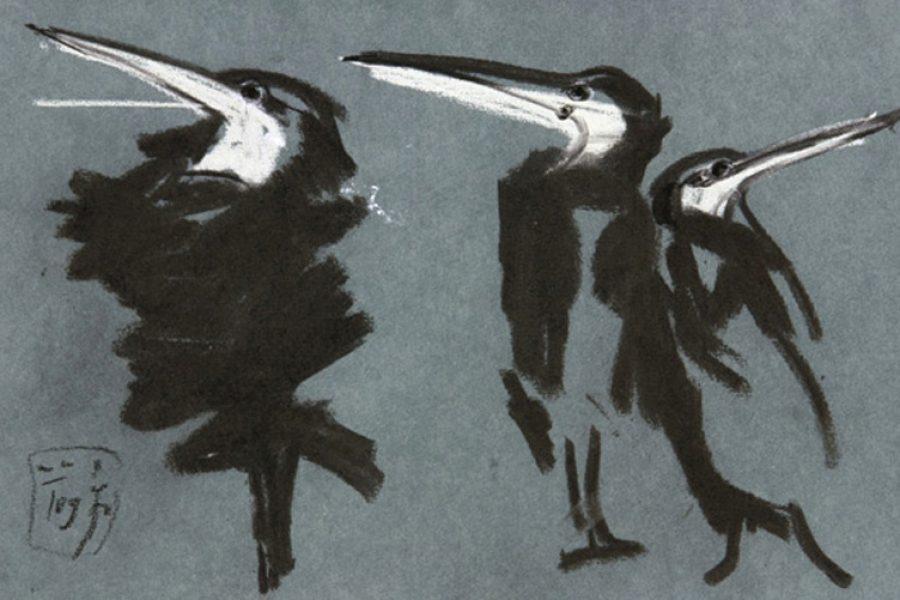 """orsten Schlüter, """"Die Geschworenen"""", 2009, Kreide, 17,5x25,5cm"""