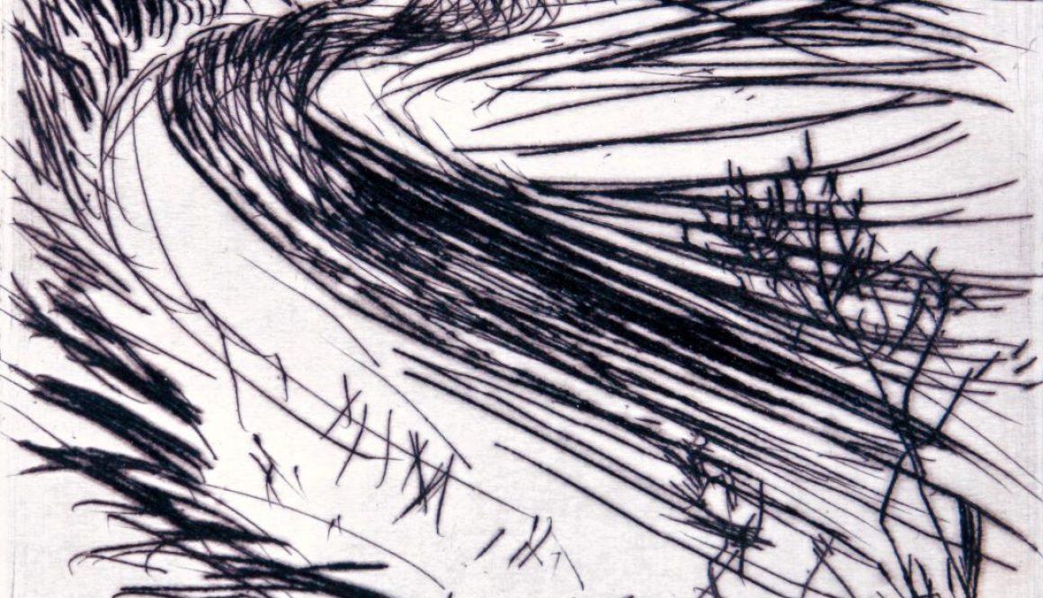 """Torsten Schlüter, """"Die Schlickwelle"""", Edition Hiddensee, 2010, Kaltnadelradierung, 20x20cm"""